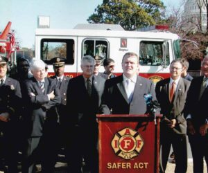 Kevin emceeing the victory Press Conference on the passage of SAFER with a bi-partisan House and Senate contingent.