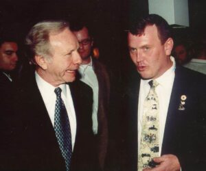 Kevin with Democratic VP Candidate Joe Lieberman during a campaign event in 2000